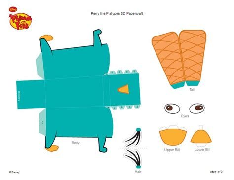 phineas ferb perry papercraft printable pagenumber