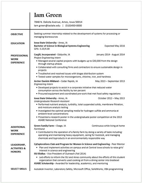 skills and experience example on resumes example resumes engineering career services iowa state
