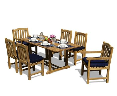 teak 5ft garden dining table and 6 clivedon chairs set