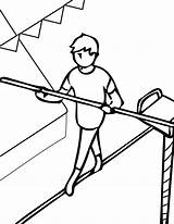 Coloring Pages Tightrope Acrobat Walker Walking Sheets Template Circus Clifford Getcolorings Library Clipart Printable sketch template