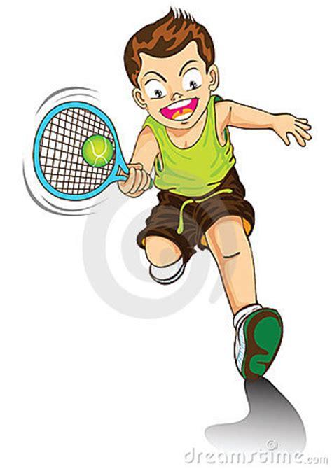 boy cartoon playing tennis stock images image