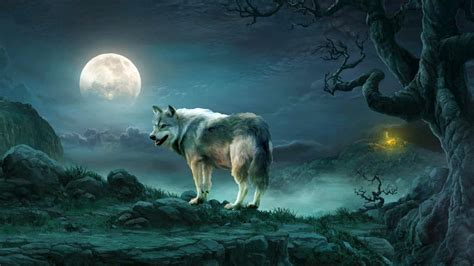 Wallpaper For Macbook Pro 13 Wolf Under The Full Moon Fantasy Art Wallpaper Wallpaper Studio 10 Tens Of Thousands Hd