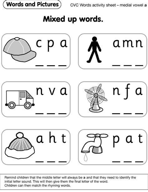 activity sheet  cvc word activities preschool
