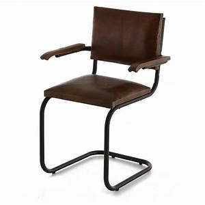 Chaise Metal Pas Cher : 2x chaise cuir et m tal marron avec accoudoirs montecristo ~ Teatrodelosmanantiales.com Idées de Décoration