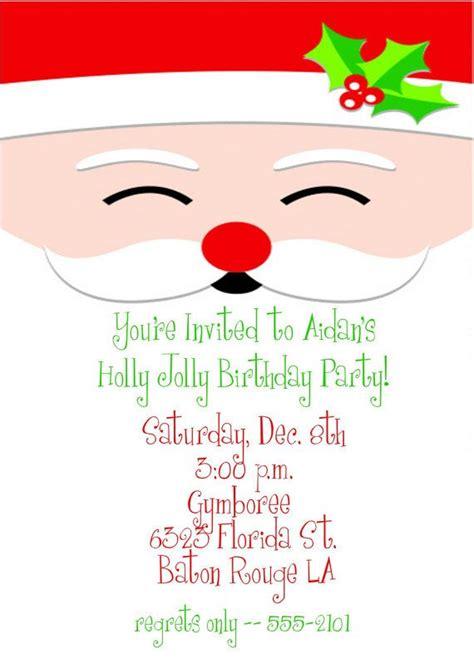holly jolly santa christmas birthday party invitation