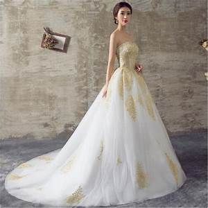 2016 white and gold wedding dresses a line sweetheart lace With white and gold wedding dresses