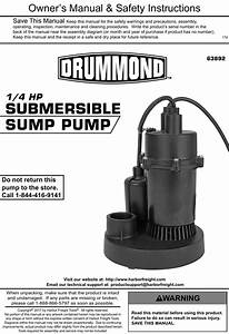Manual For The 63892 1  4 Hp Submersible Sump Pump 3000 Gph