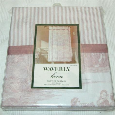 waverly home toile pink white fabric shower curtain
