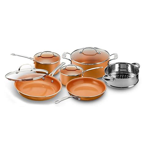 buy gotham steel nonstick  piece  copper cookware set  bed bath