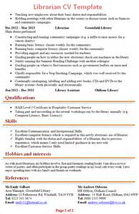 sle librarian curriculum vitae librarian cv template 2