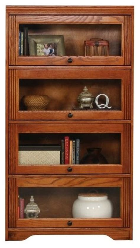 Lawyer Bookcases Glass Doors by Oak Ridge Lawyers Bookcase W 4 Glass Doors Medium Oak