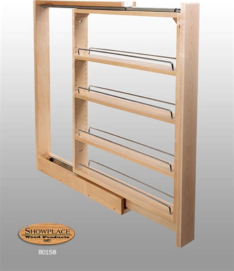 base slim pull  rack showplace cabinets traditional kitchen cabinetry  metro