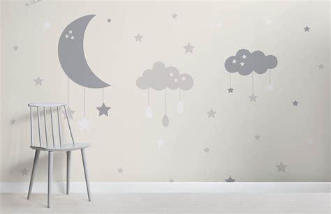 baby clouds  moon wall mural murals wallpaper