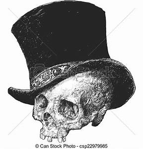 Stock Illustration of Top Hat Skull Illustration - Hand ...