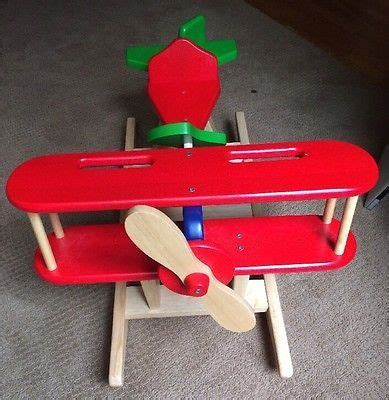 kids rocker wooden ride  airplane rocking chair plane