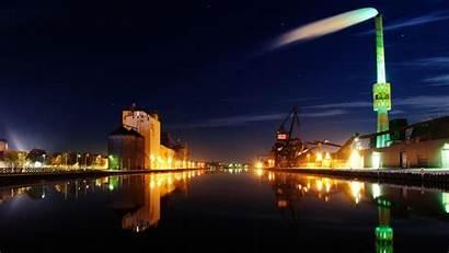 Night Wallpapers Desktop Randers Port Dock Lights