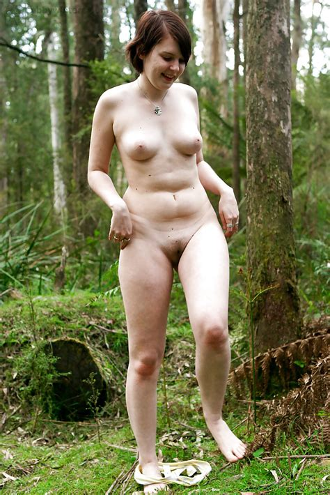 chubby amateur beck strips naked in woods for outdoor masturbation