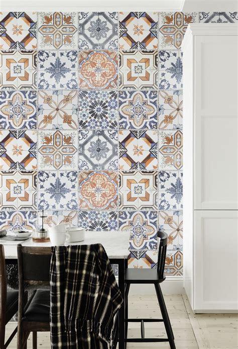 tile effect wallpaper for kitchen multicoloured portuguese tile effect wallpaper 8479