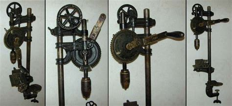 large millers falls bench mounted hand cranked drill press