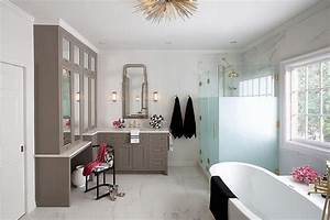 Frosted, Glass, Walk, In, Shower, Enclosure, With, Brass, Vintage