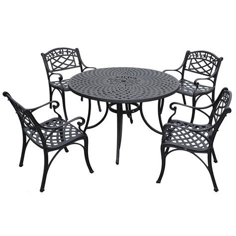 sedona 48 inch five cast aluminum outdoor dining set