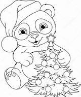 Panda Coloring Bear Kleurplaat Printable Pandas Ausmalbilder Kerst Natale Dessin Zum Coloriage Buon Colorir Tree Stockillustratie Kleurplaten Noel Ausmalen Weihnachten sketch template
