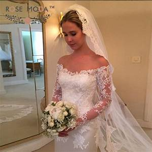 Off the shoulder long lace sleeves fitted sheath wedding for V back wedding dress