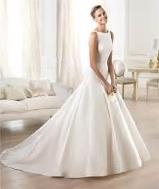 simple a line wedding dress modest simple a line bateau neckline satin wedding dress with buttons