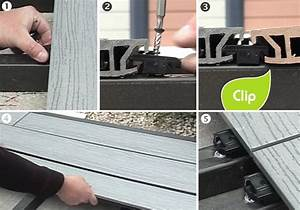 poser une terrasse composite sur lambourdes composites With fixation lame de terrasse composite