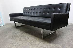 Vinyl sofa dark brown vinyl sofa bed w pull down table for James furniture and mattress deals