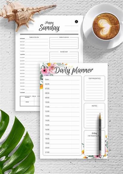 Planner Daily Templates Bundle Template Printable Pdf