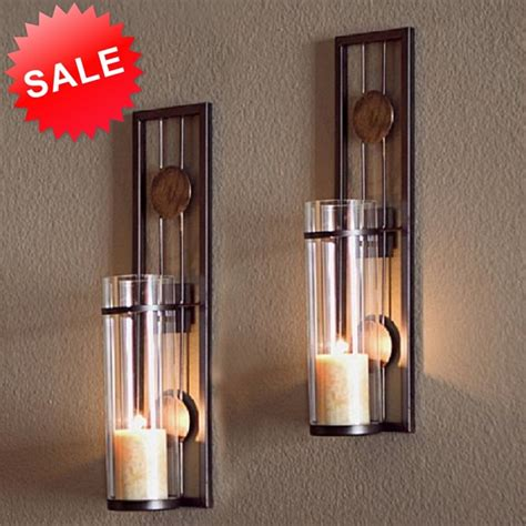 candle wall sconce holder metal glass pair decor vintage