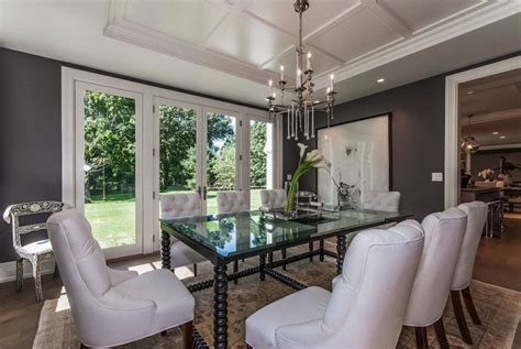tray ceiling transitional dining room milton development