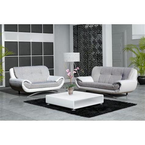 canapé design discount canape design 3 2 places revetement pu et tissu achat