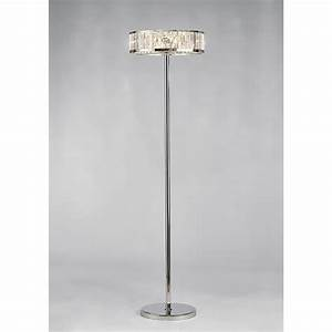 Diyas torre 5 light crystal floor lamp with polished for Pallas chrome floor lamp