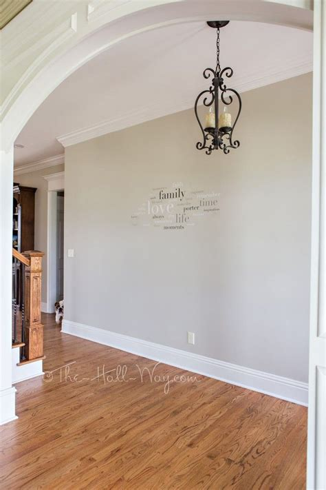 revere pewter color in behr paint foyer with behr sculptor clay and silky white trim a bm