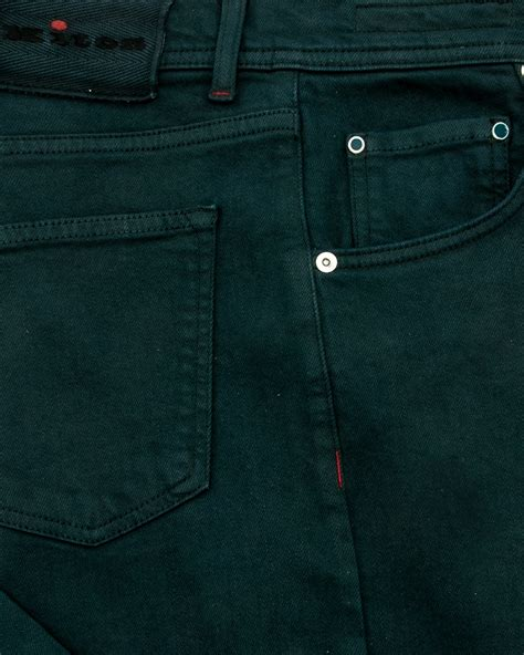 kiton forest green 5 pocket denim apparel s