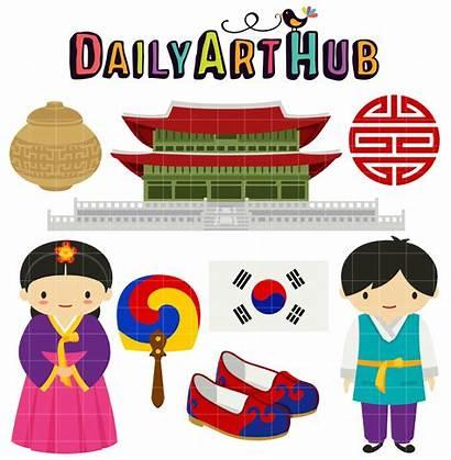 Korean Korea Clip Clipart Traditional Hanbok Crafts