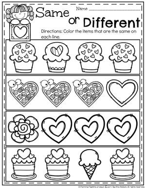 s worksheets planning playtime 560 | Valentines Worksheets for Preschool Same or Different.