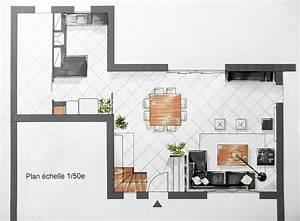plan salon salle a manger cuisine cuisine en image With plan salon cuisine sejour salle manger