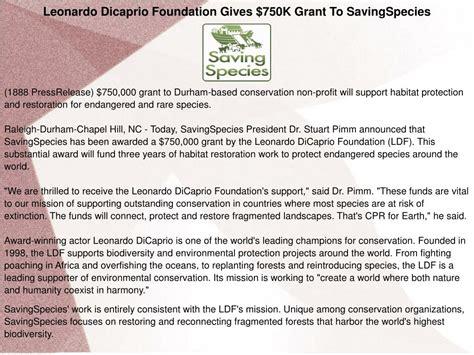 PPT - Leonardo Dicaprio Foundation Gives $750K Grant To ...