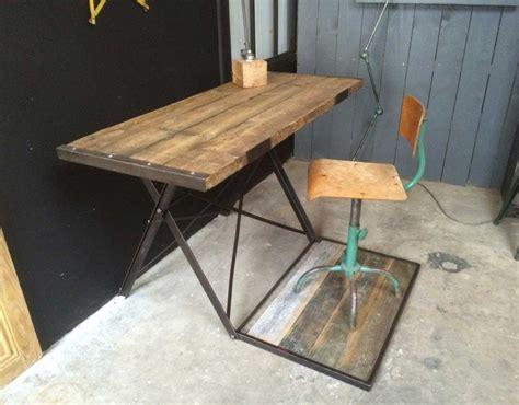 bureau bois brut console bureau industriel