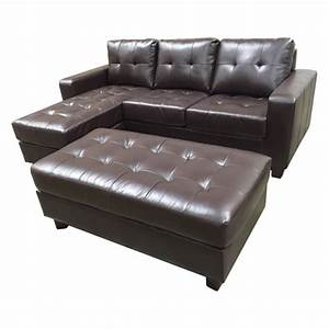 Abbyson living lucia leather 3 piece reversible sectional for Abbyson living delano sectional sofa and storage ottoman set