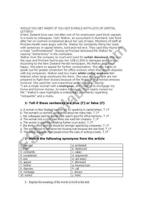 A complaint letter - ESL worksheet by egonzalezlara