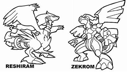 Pokemon Legendary Coloring Pages Zekrom Reshiram Kyurem