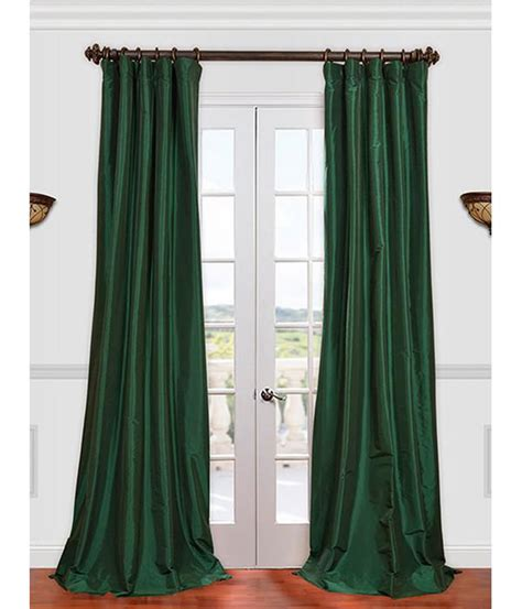 get emerald green faux silk taffeta curtains drapes at