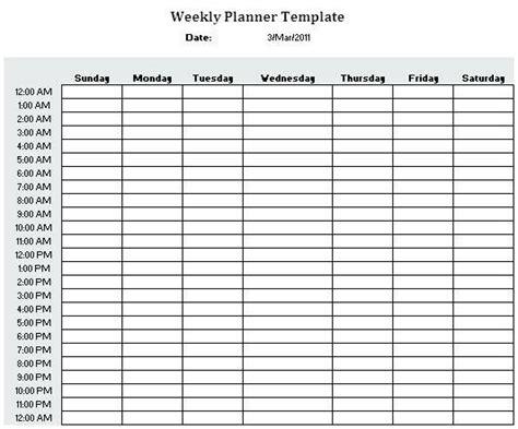 Weekly 24 Hour Planner Cortezcoloradonet