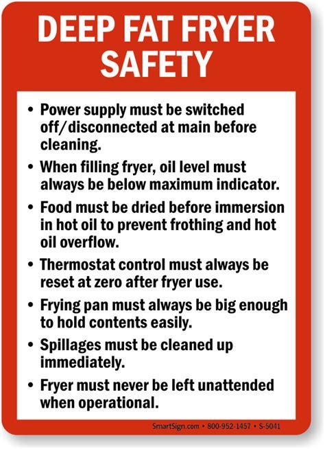 fryer deep fat sign safety guidelines kitchen food mysafetysign