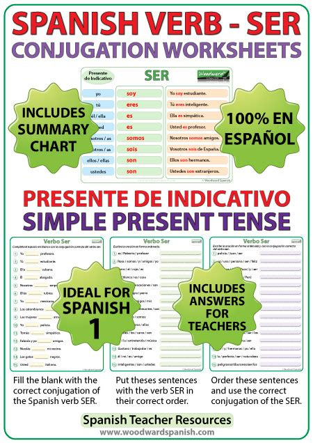 ser spanish verb conjugation worksheets present tense woodward spanish