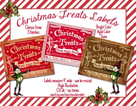 candy labels christmas treats tag digital  printable